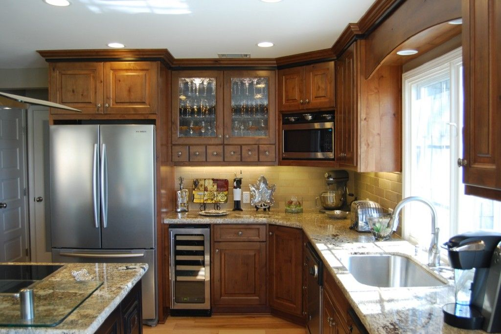 transitional style kitchen with cherry brown cabinets and black accents complete kitchen on kitchen cabinets upper id=36754