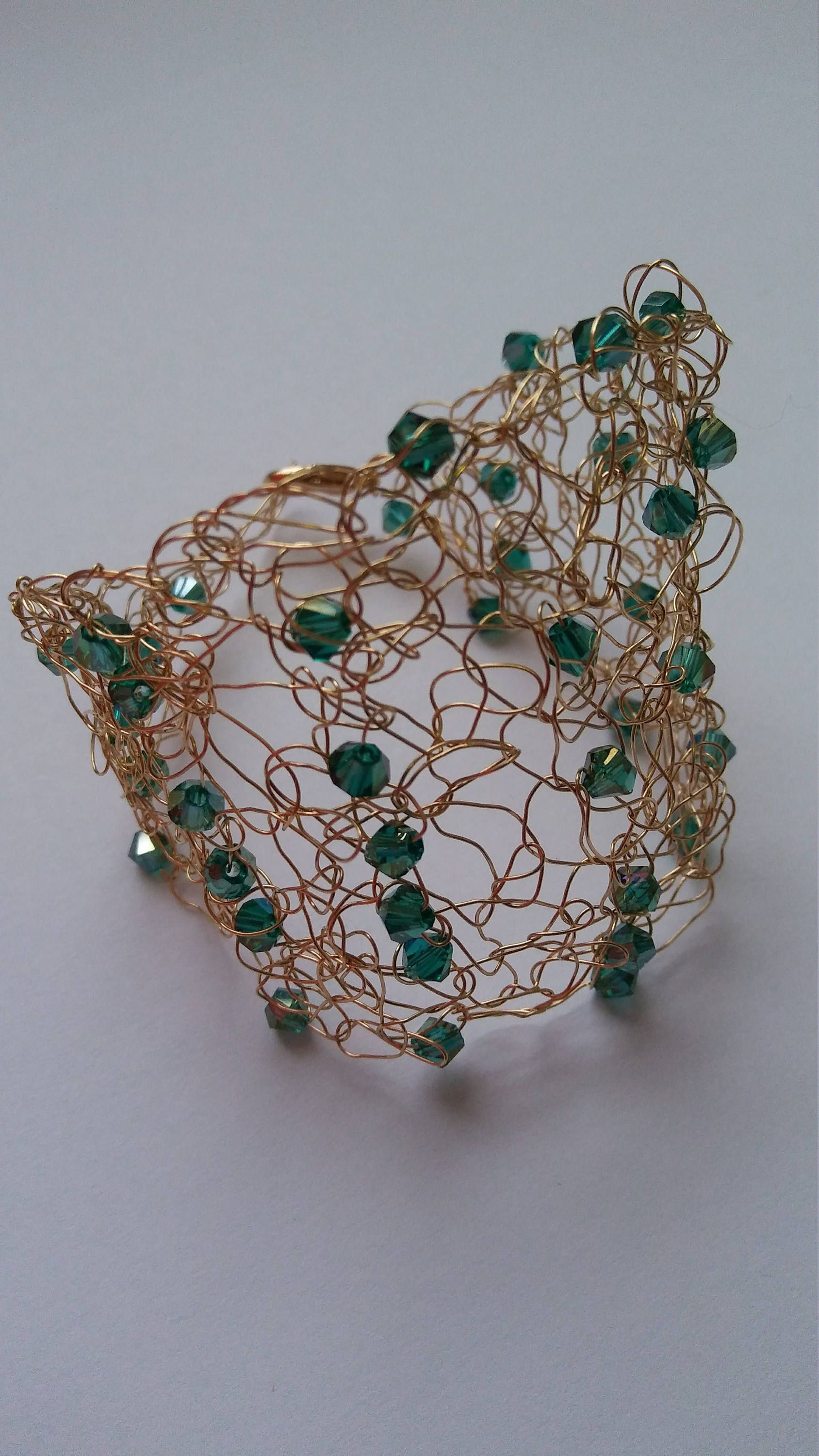 Handmade crochet wire bracelet gold color with green color beads ...