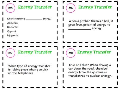 Energy Transfer Task Cards Teaching Energy Kinetic Energy Lesson Energy Transfer
