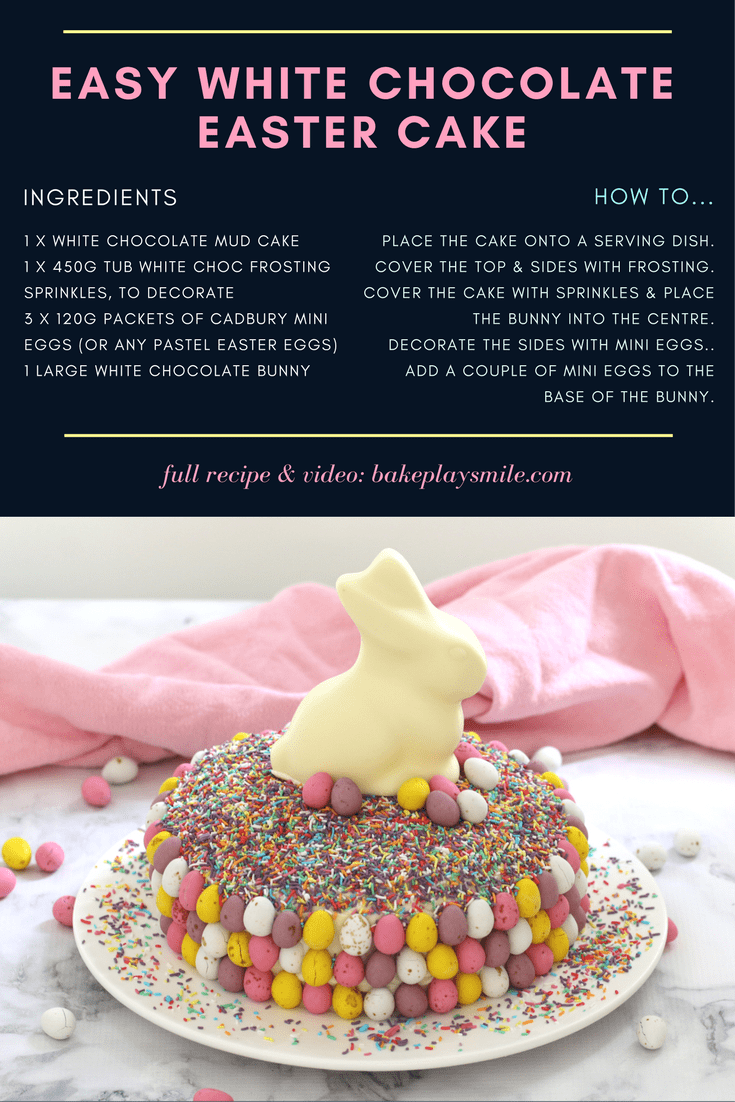 15 minutes is all it takes to whip up this show stopping Easy White Chocolate Easter Cake. It looks AMAZING but is the simplest recipe ever!!! A store-bought white chocolate mud cake covered in white chocolate frosting, heaped with pretty sprinkles and de