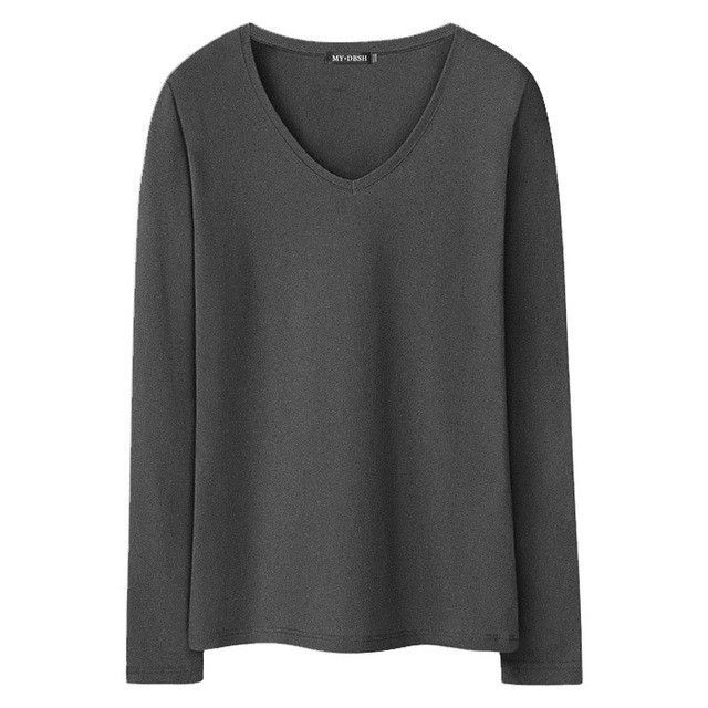 New Women S T Shirts Long Sleeve Undershirt V Neck Pure Color