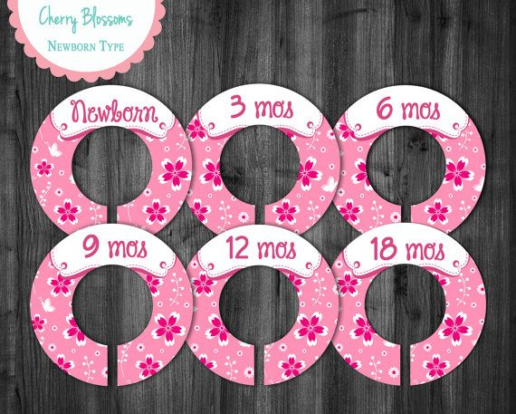 Baby Girl Closet Dividers to Organize Clothing for Baby Room   Pink Sakura Cherry Blossoms