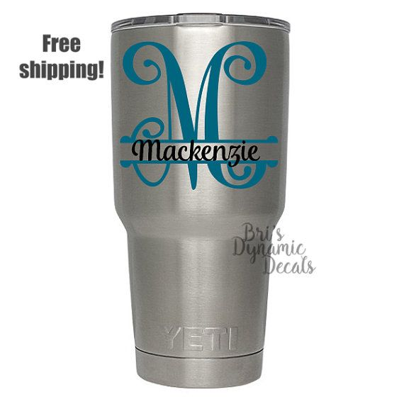 Monogram Name Decal Custom Rambler Tumbler Sticker Cup - Custom vinyl decals diy