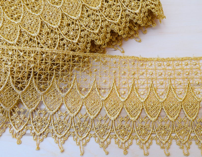 Gold Lace Trim Metallic Gold Venice Lace Gold Venise Lace Etsy Gold Lace Metal Lace Gold Fabric
