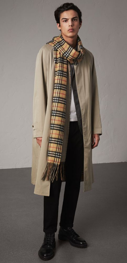 A long reversible Burberry scarf in Vintage check cashmere. Loop the  oversized style loosely at the shoulder for a relaxed feel. 26082242ad3a1