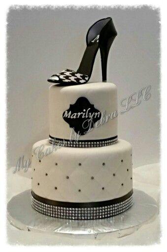 Black Amp White Theme Birthday Cake With A Stiletto High