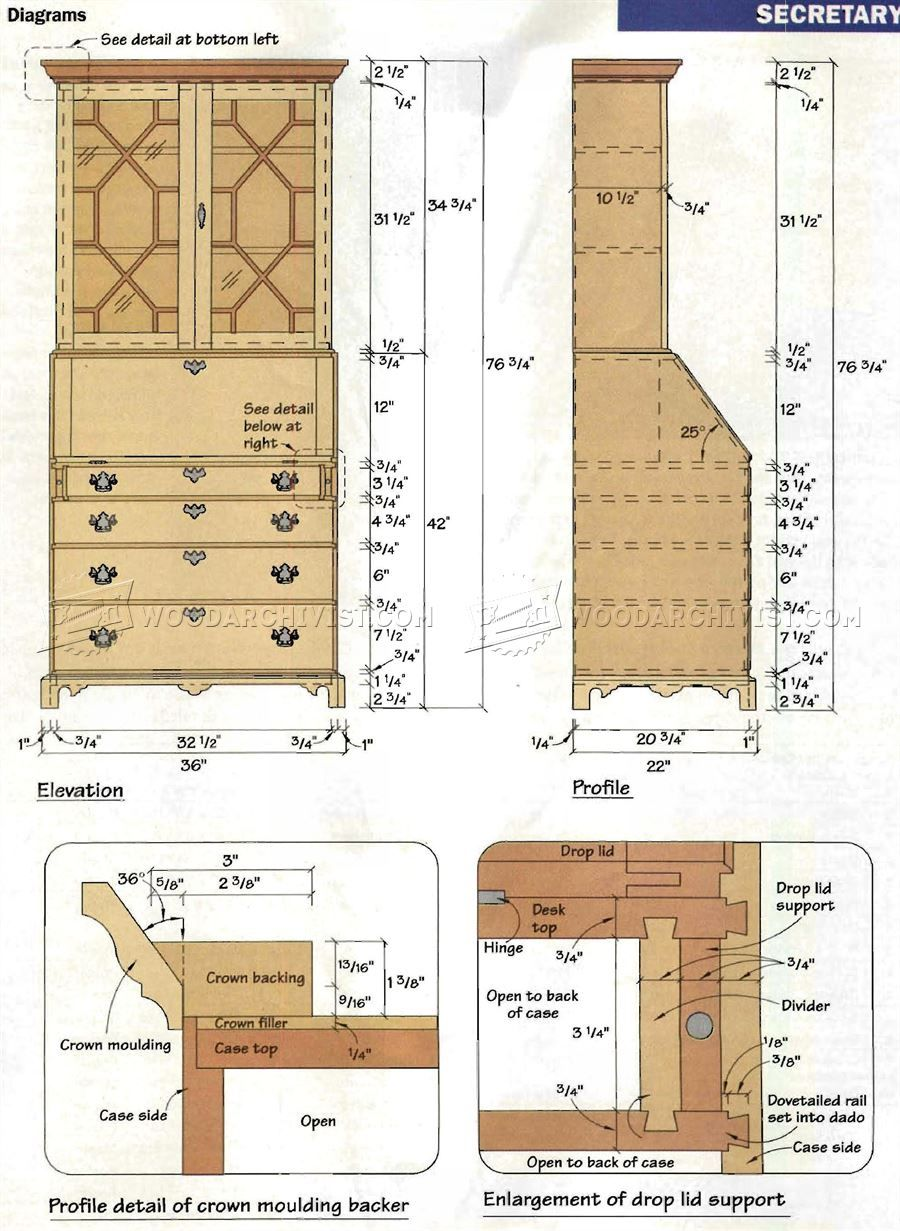 Chippendale Secretary Desk Furniture Plans And Projects Tedswoodworking Woodworking Plans Desk Plans