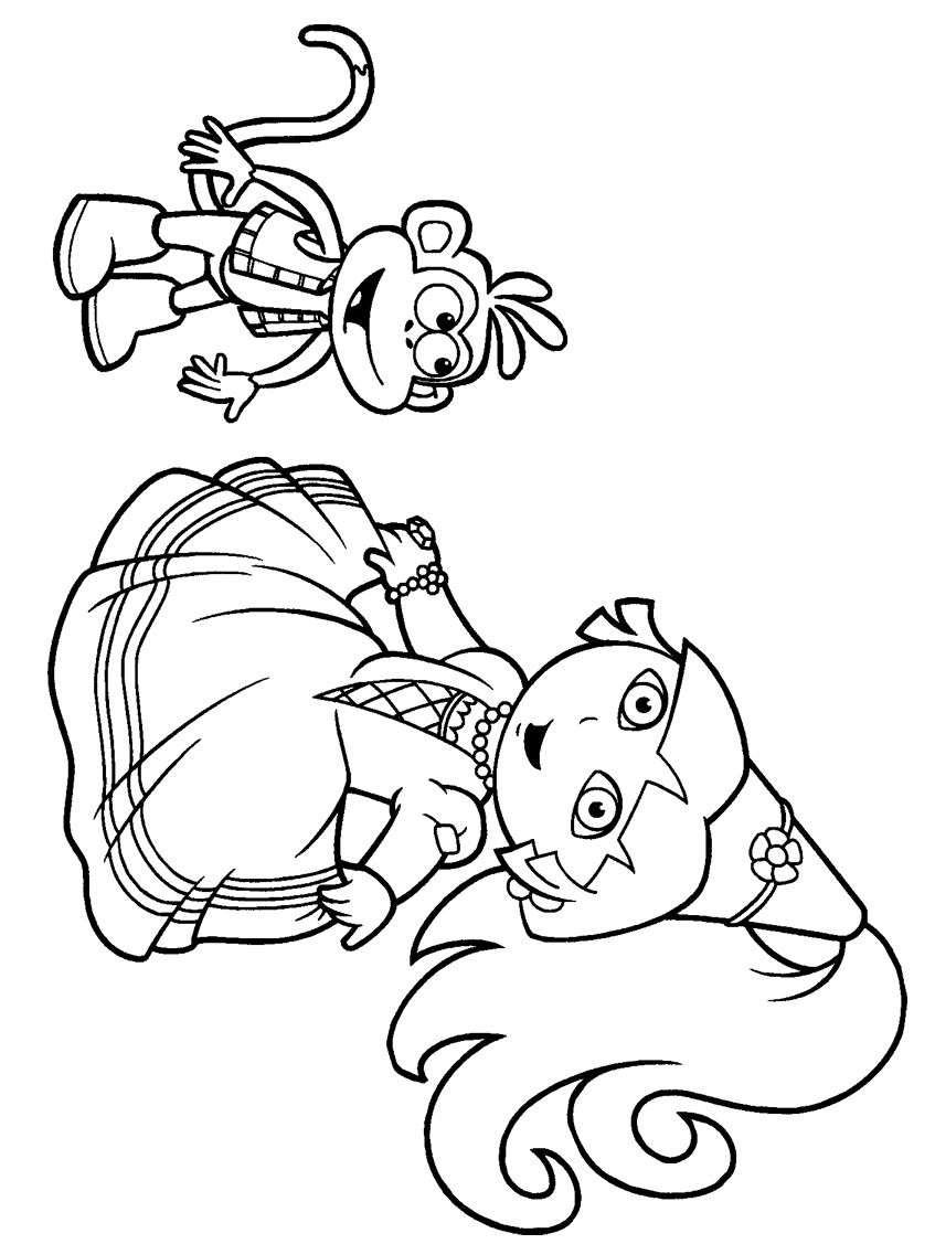 Cool Princess Dora The Explorer Coloring Pages And Monkey