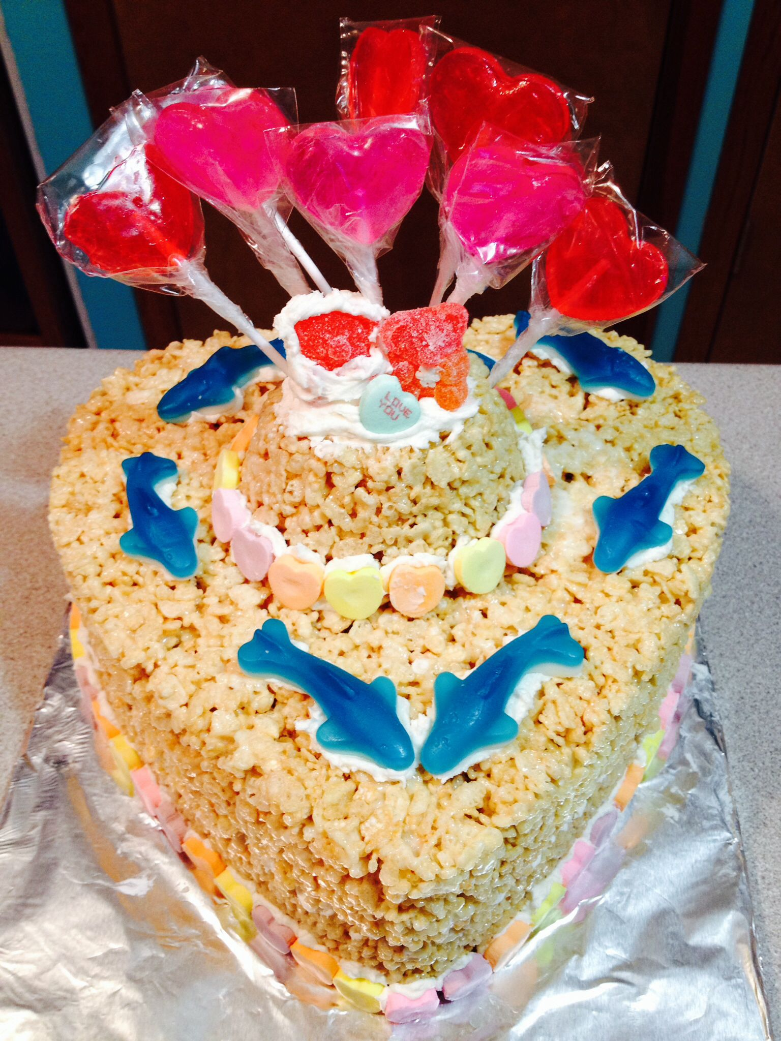 Bridal shower rice krispie cake i made for someone who