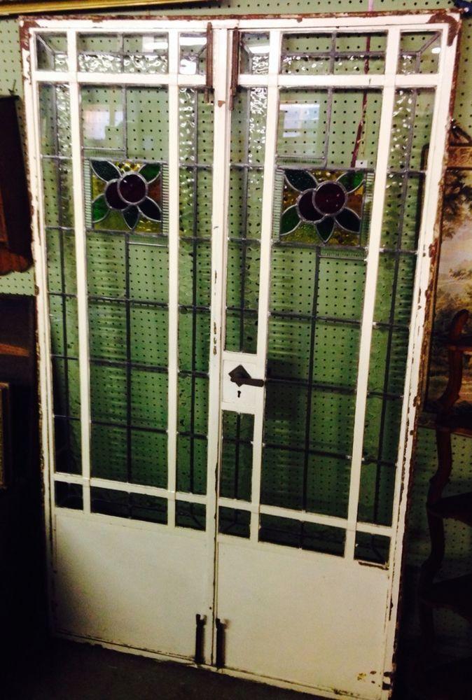 Antique Stained Glass French Door Double Door Steel Frame