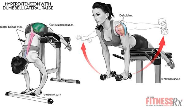 remodeling your back hyperextensions with dumbbell lateral