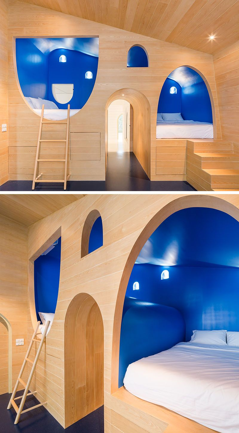 Whimsical Beds Have Been Built Into This Kids Bedroom Blue Home Decor Royal Blue Bedrooms Boys Bedroom Modern