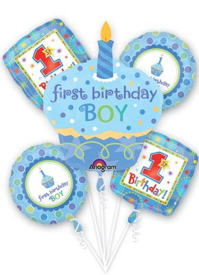 Sweet Little Cupcake 1st Birthday Boy Balloon Bouquet