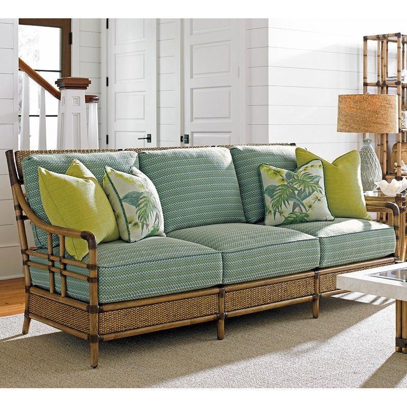Tommy Bahama Twin Palms Rattan Sofa Furniture Shabby Chic Furniture Lake House Furniture