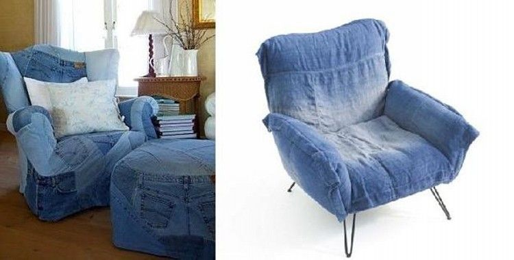 Reuse Denim Jeans Sofa Cover