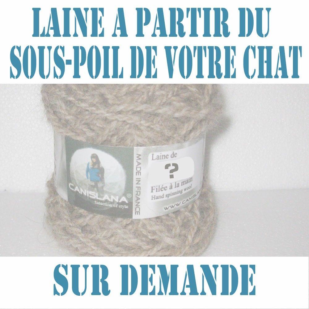 Vous pouvez nous envoyer le sous-poil de votre chat. Nous fabriquerons des pelotes de laine ou des articles (bonnets, écharpes, ...) qui vous seront expédiés. Vendu sur canislana.com.