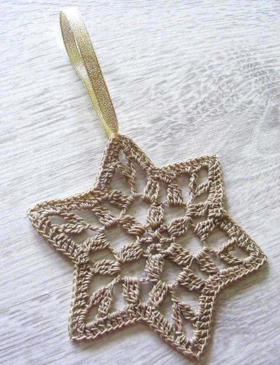 Christmas stars, crochet snowflakes, star of David, set of 6 ...