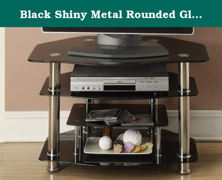 Black Shiny Metal Rounded Gl Tv Stand By Poundex Created With Even Proportions Of Shelving