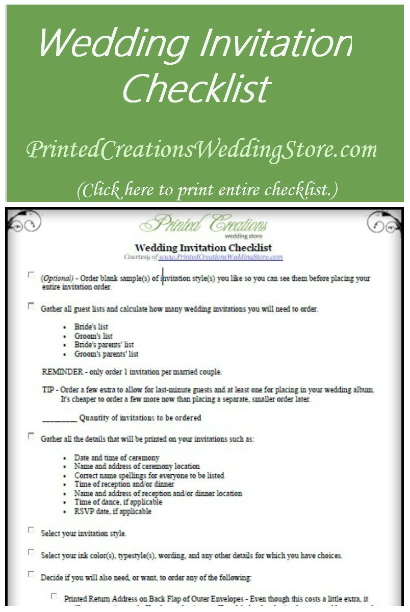Use This Handy Wedding Invitation Checklist As A Guideline In Your