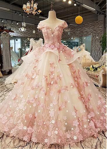 Aufwendige Pailletten Tüll Rundhalsausschnitt Ballkleid Brautkleider mit #tulleballgown