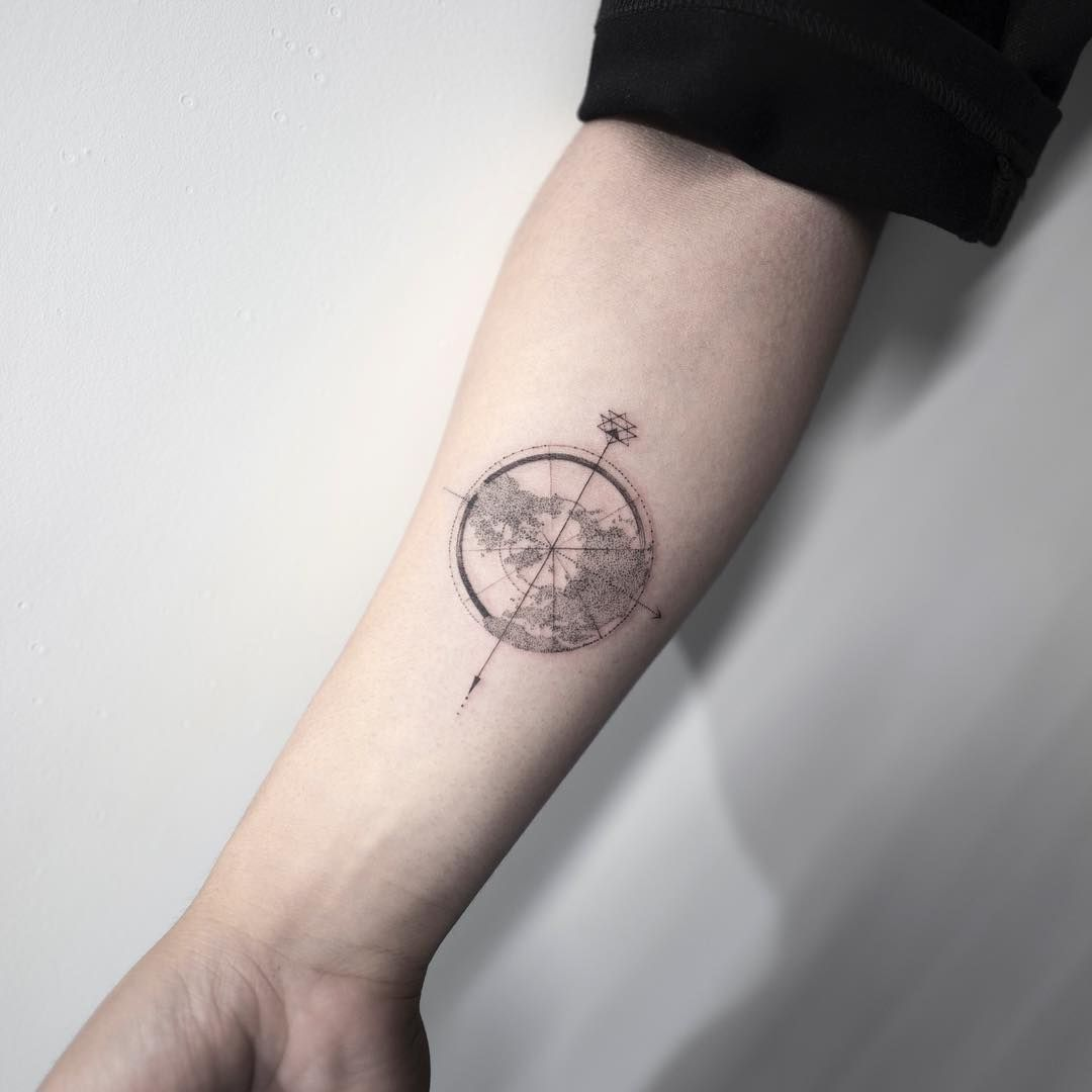 Compass Earth Compass Tattoo Hongdam 타투 홍담 Compass Tattoo Tattoos Forearm Tattoos