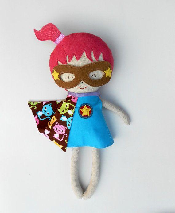 Handmade doll superhero girl a fabric doll ideal by LaLobaStudio