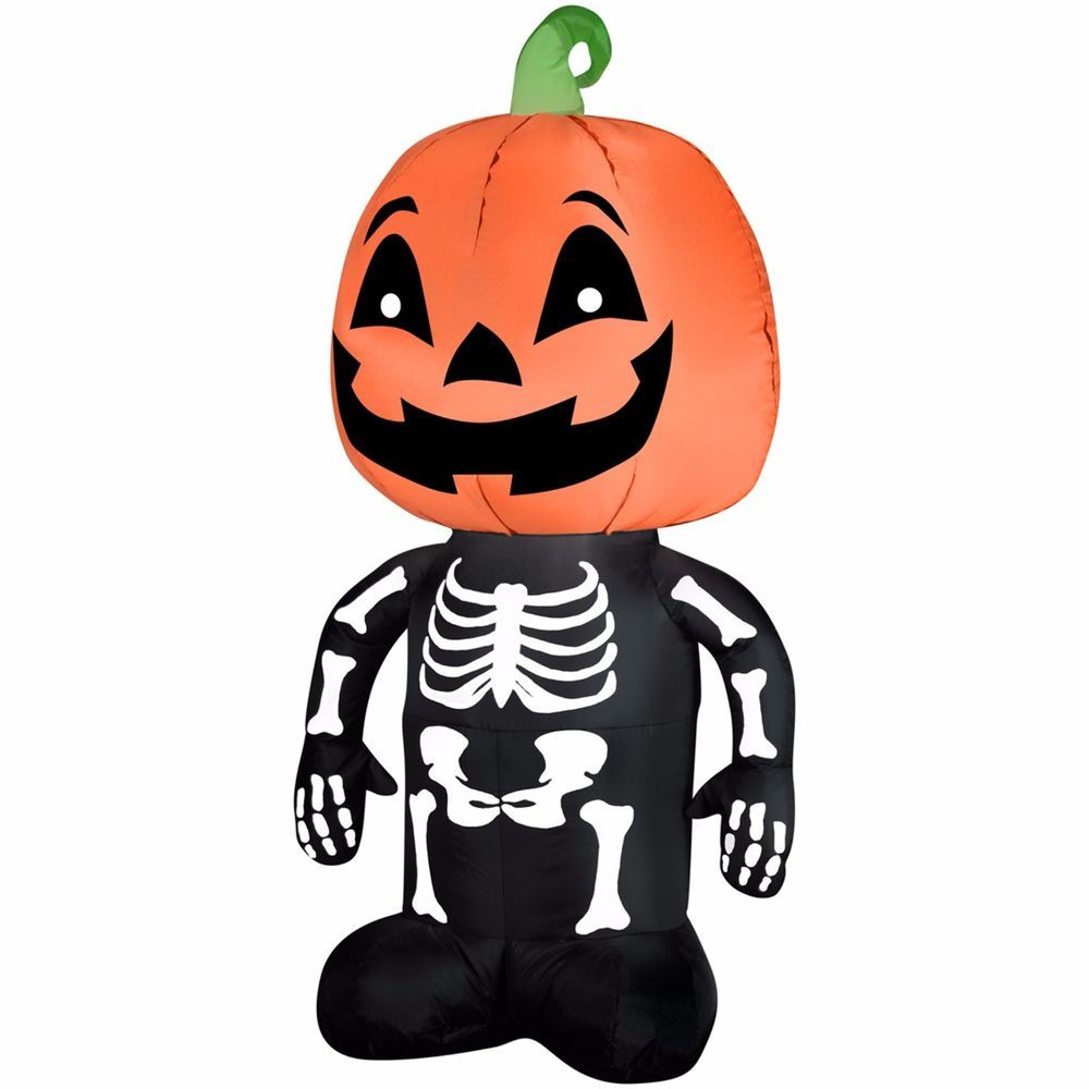 pumpkin boy skeleton airblown inflatable outdoor halloween decoration home decor gemmyairblowninflatable