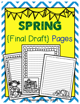 Spring Final Draft Pages from Amanda Garcia on TeachersNotebook.com -  (9 pages)  - Enjoy this 9-page FREEBIE!  These spring-themed final draft pages are a fun option for students ready to publish their writing!