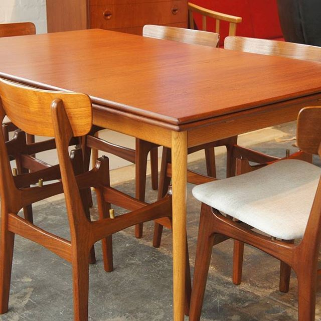 Large Teak And Oak Extendable Dining Table By Karl Erik Ekselius Findahl Chairs Restored