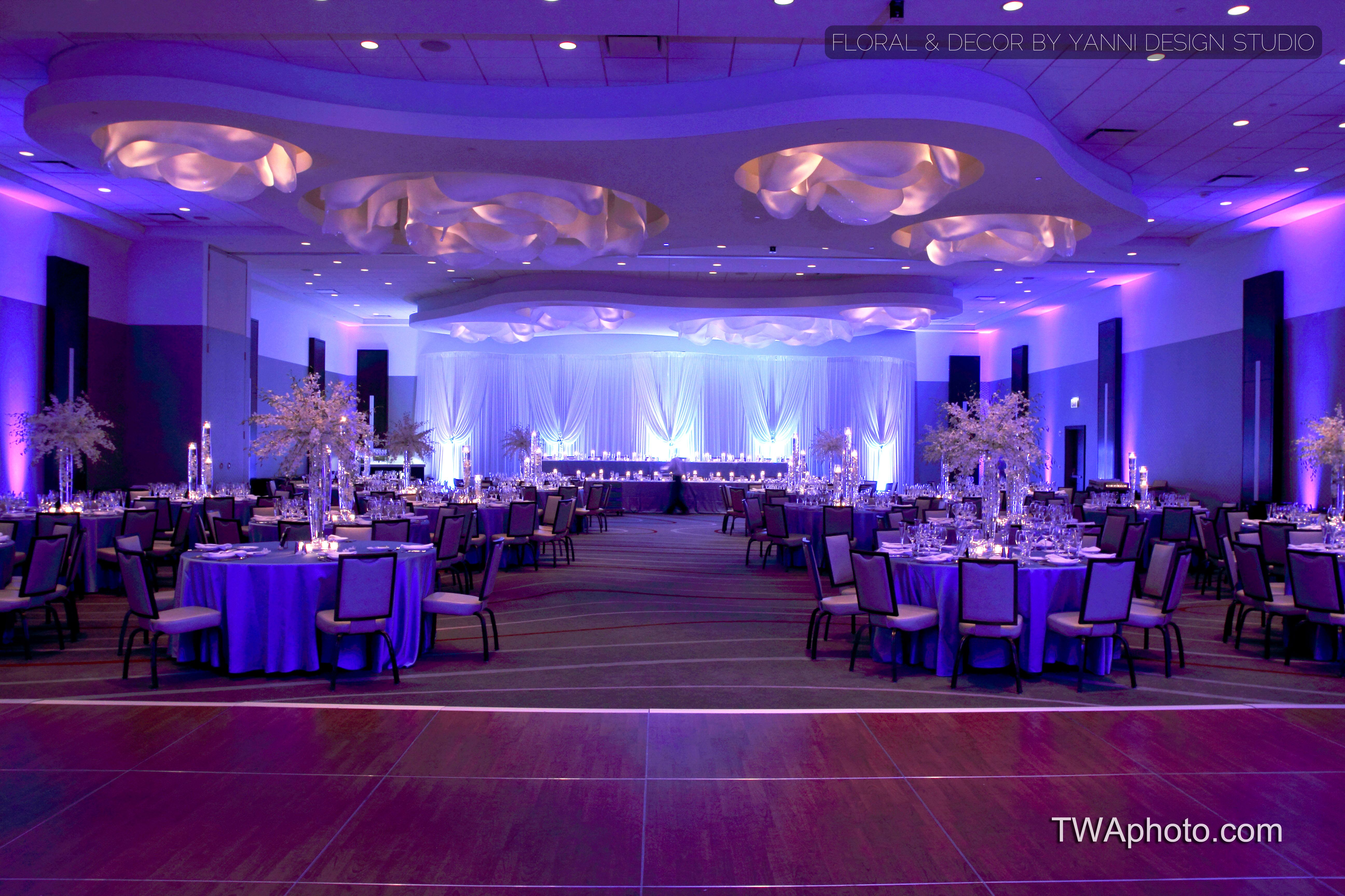 modern wedding reception decor at the loews chicago ohare hotel - Purple Hotel Decor
