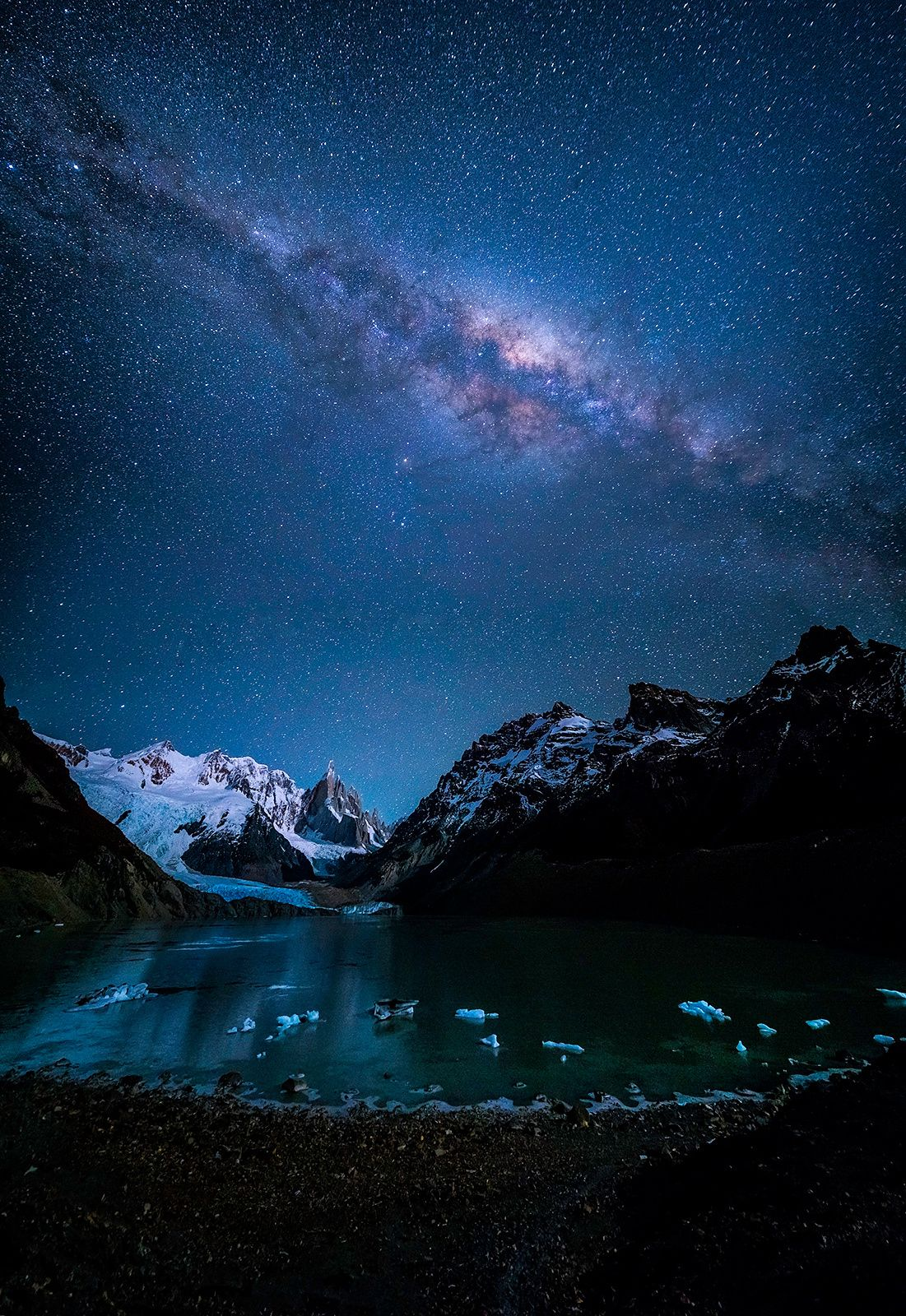 Laguna Torre under the Night Sky by Jonathan Zhang on 500px