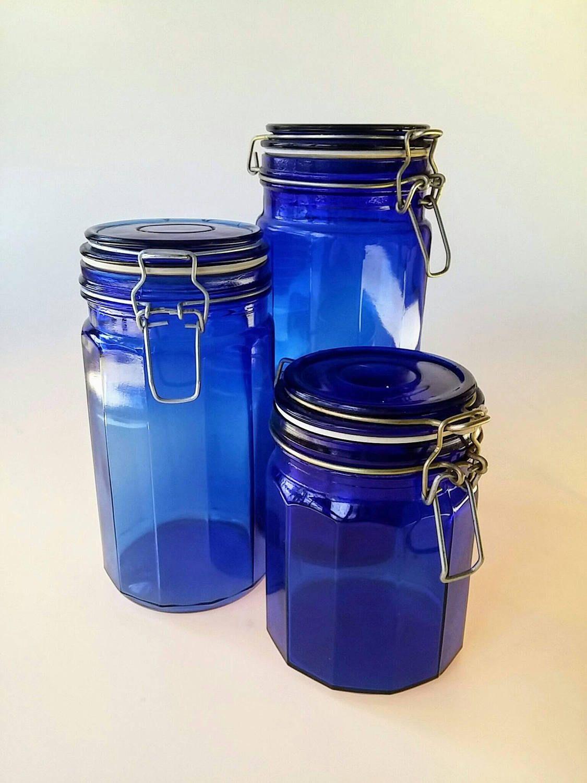 Blue Canister Set Vintage Canister Set Lockable Lid Kitchen Etsy52 Blue Canister Set Blue Canister Vintage Canister Sets