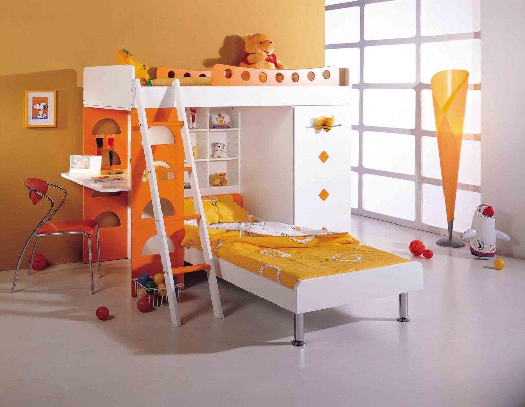 Kids Bedroom Ideas Bunk Beds magnificent loft bunk bed design for kids in white-orange colors
