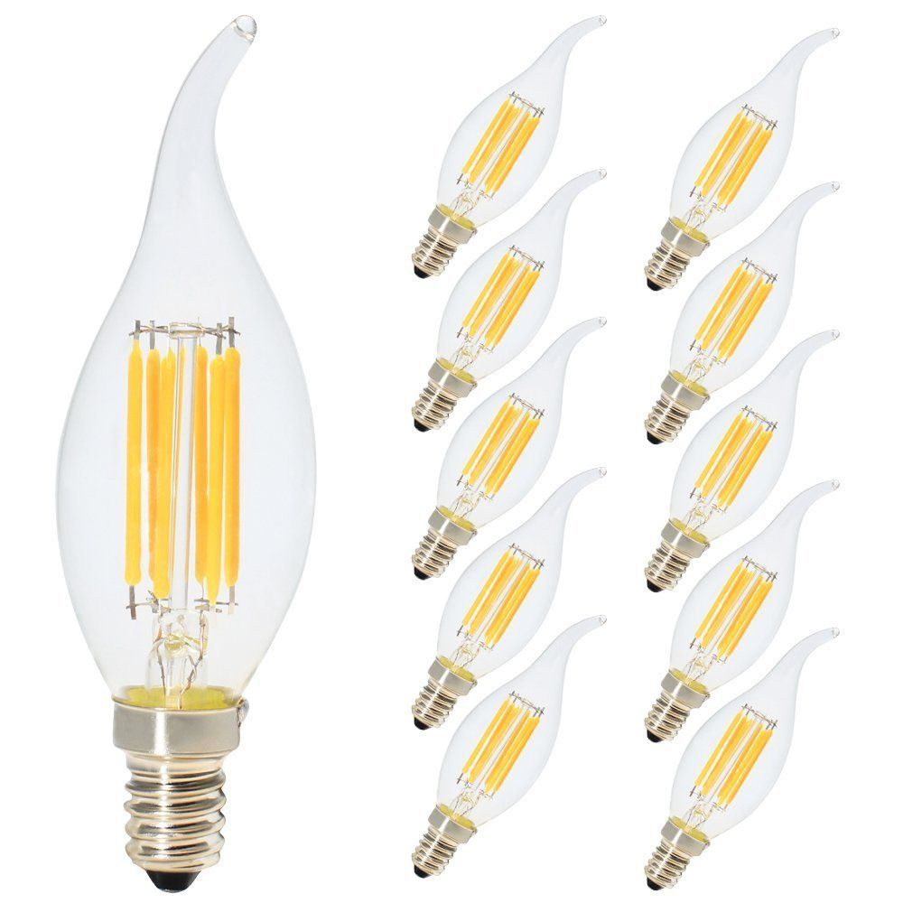 10 Pack 6W Dimmable LED Filament Candle Light, Warm White 2700K ...