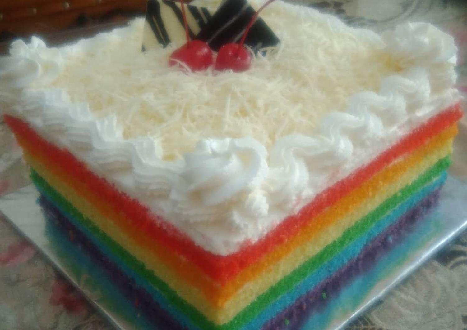Resep Rainbow Cake Kukus Super Lembut Oleh Vivien Marwan Resep Kue Pelangi Kue Mangkok Resep