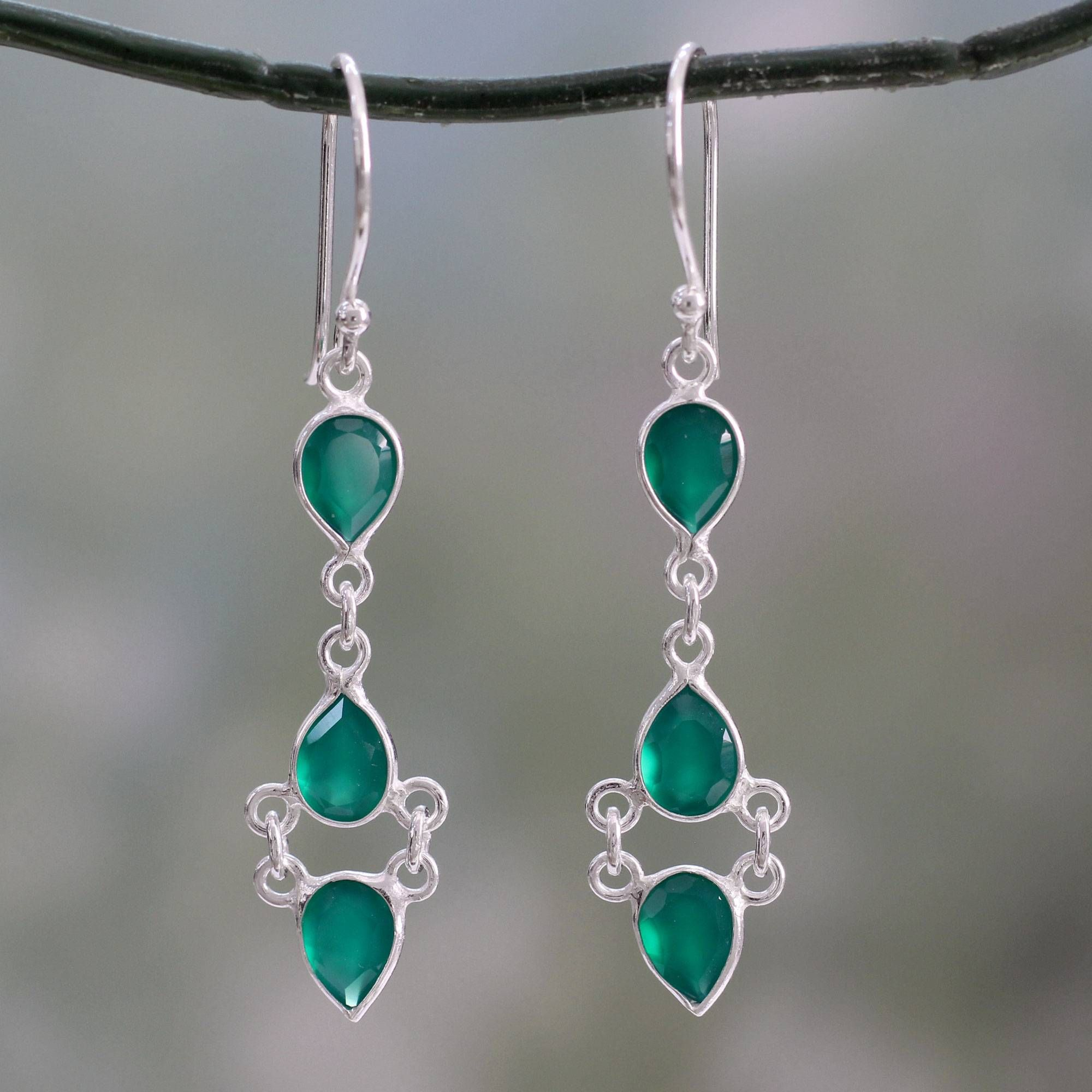 093c53449 Unicef UK Market | Sterling Silver Handcrafted Earrings with Faceted Green  Onyx - Mystic Wonder