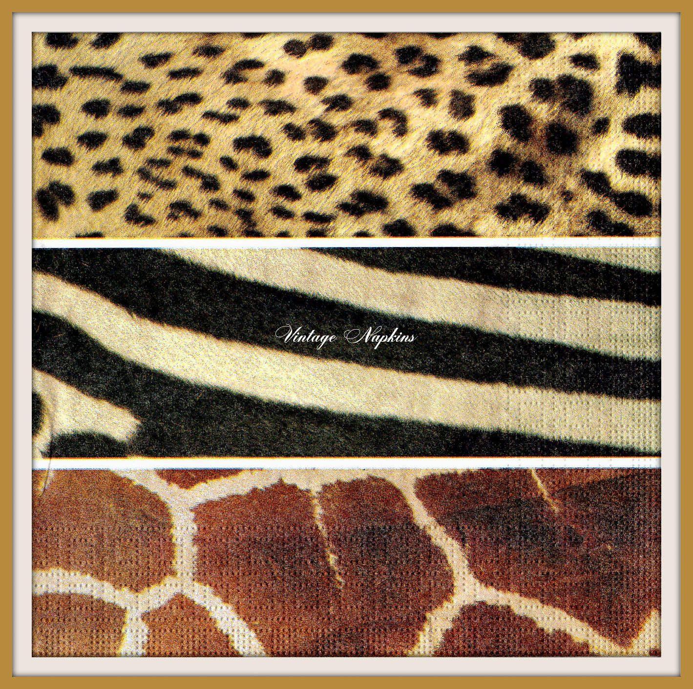 PAPER napkins for DECOUPAGE - Animal Patterns Zebra Leopard Giraffe #370 by VintageNapkins on Etsy