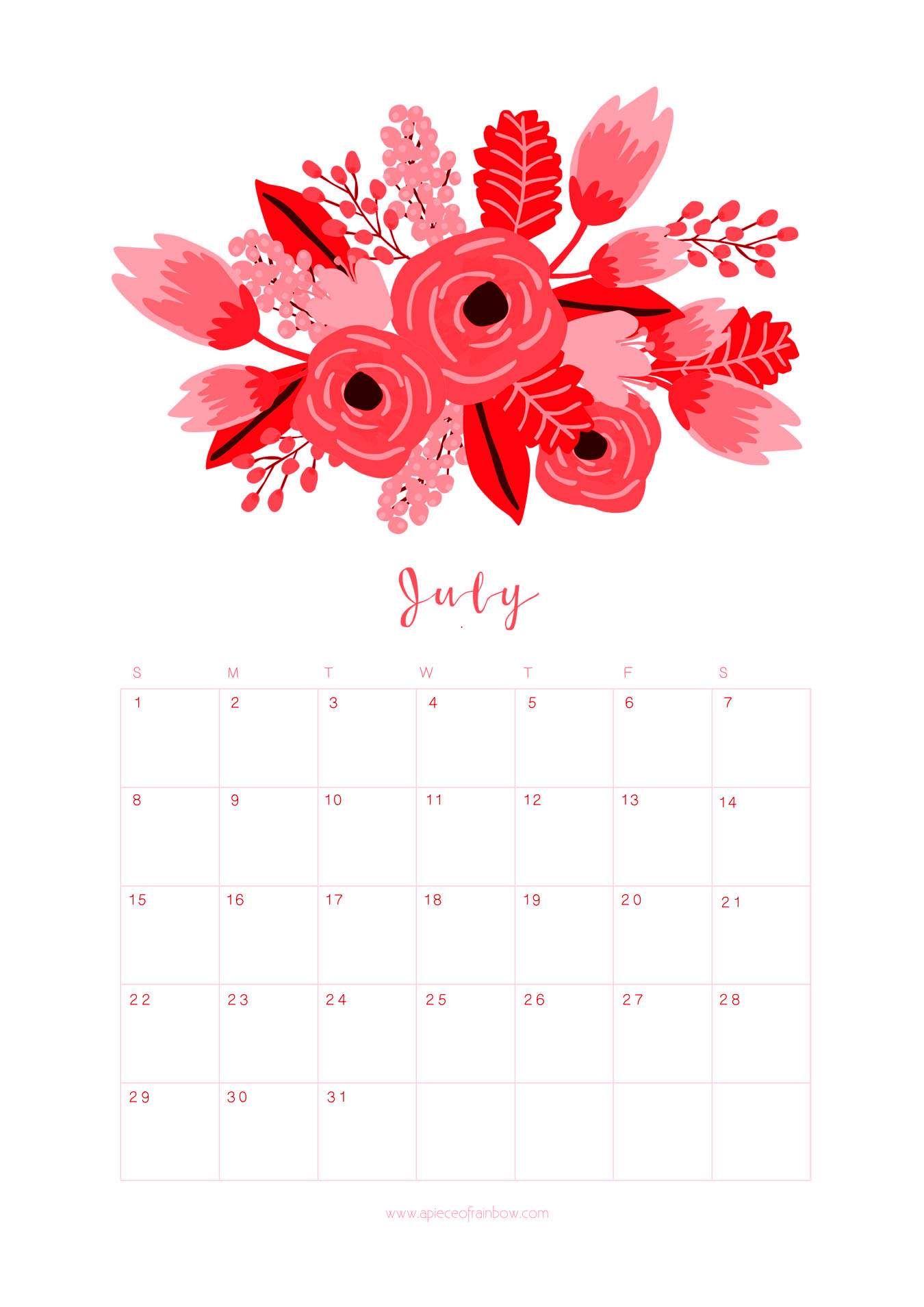 July 2018 Flower Calendar Printable 2018 Calendars