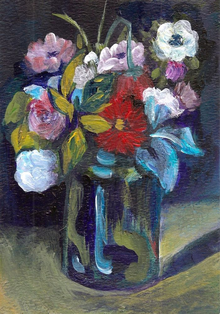 5x7 Painting After Cezanne Flowers Blue Vase Miniature Masterpiece