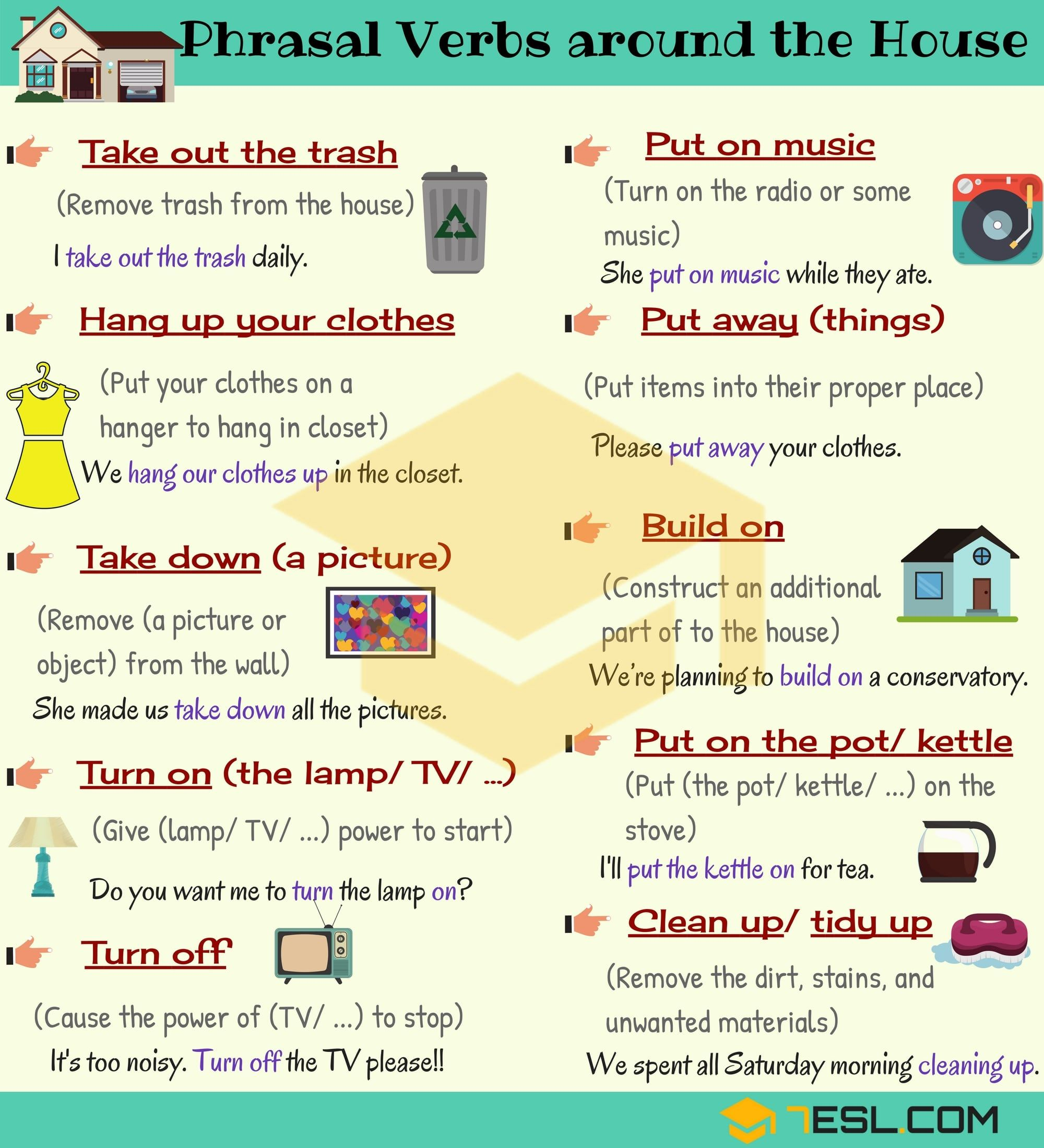 House Phrases 17 Useful Phrasal Verbs Around The House