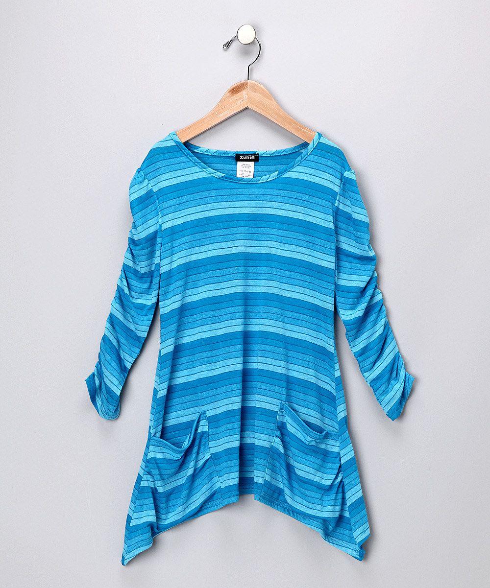 zunie &pinky - turquoise stripe sidetail tee