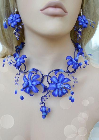 """Комплекты украшений ручной работы. Ярмарка Мастеров - ручная работа. Купить Комплект """"Floral Royal Blue"""". Handmade. Синий"""