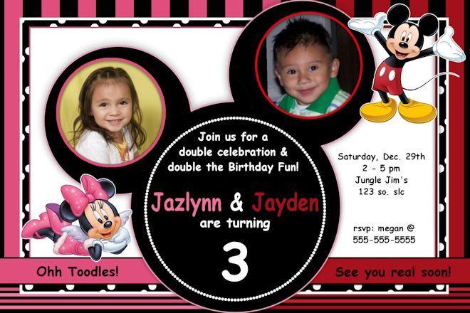 Mickey Minnie Mouse Invitation You Print Custom Party – Mickey and Minnie Party Invitations