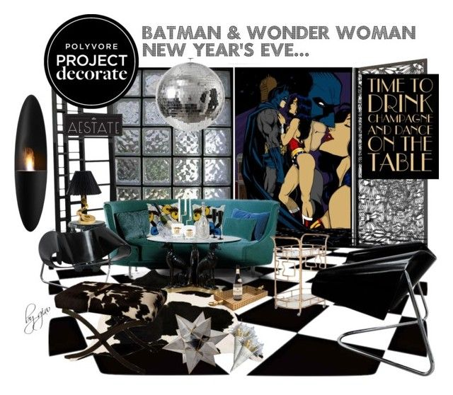 """""""batman & wonder woman new year's eve..."""" by ian-giw ❤ liked on Polyvore featuring interior, interiors, interior design, home, home decor, interior decorating, Arktura, La Corbeille, taniis and Kartell"""