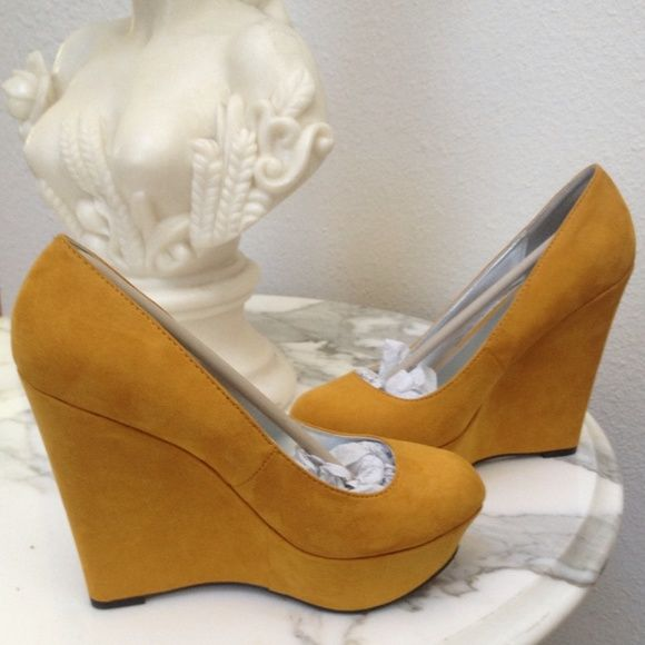 """Qupid yellow wedges New without box. Qupid faux suede yellow wedges, 5"""" heel with 1"""" platform. Size 6.5 but listed as size 6 because these definitely run smaller (I am a true 6.5 and these fit me tight). Only offers made they the offer feature will be considered trades ❌Paypal Qupid Shoes"""