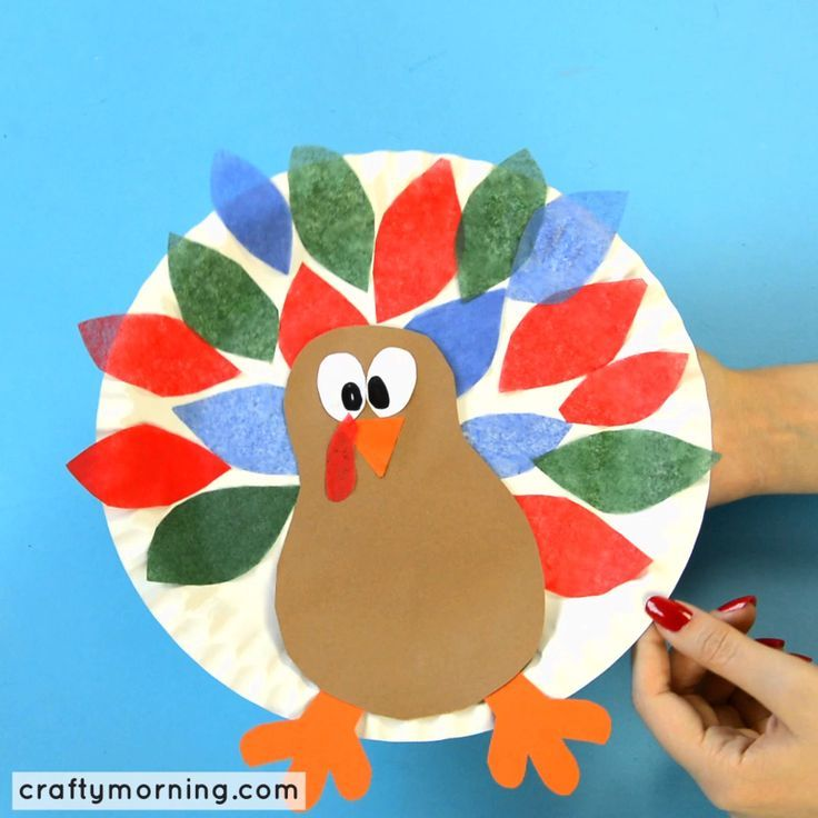 Paper Plate Turkey Craft Using Tissue Paper