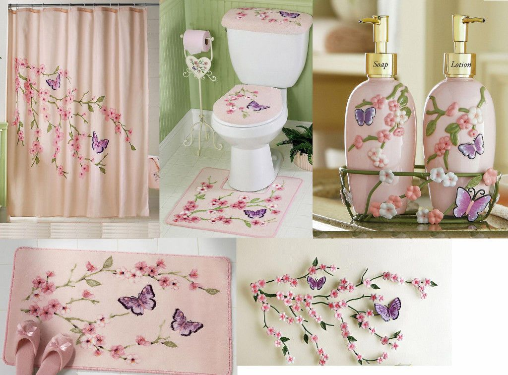 Bathroom Sets With Shower Curtain And Rugs Butterfly