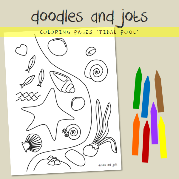 Tidal pool coloring page from @anntrea