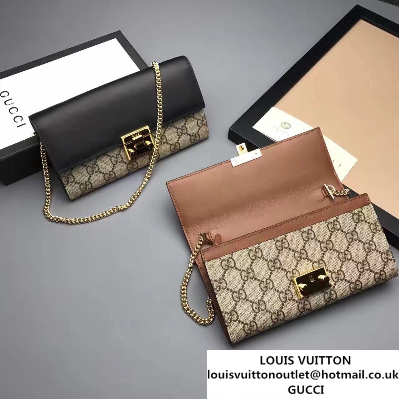 71736ceac926 Gucci Padlock GG Supreme Continental Chain Wallet Bag 453506 Black/Brown  2017
