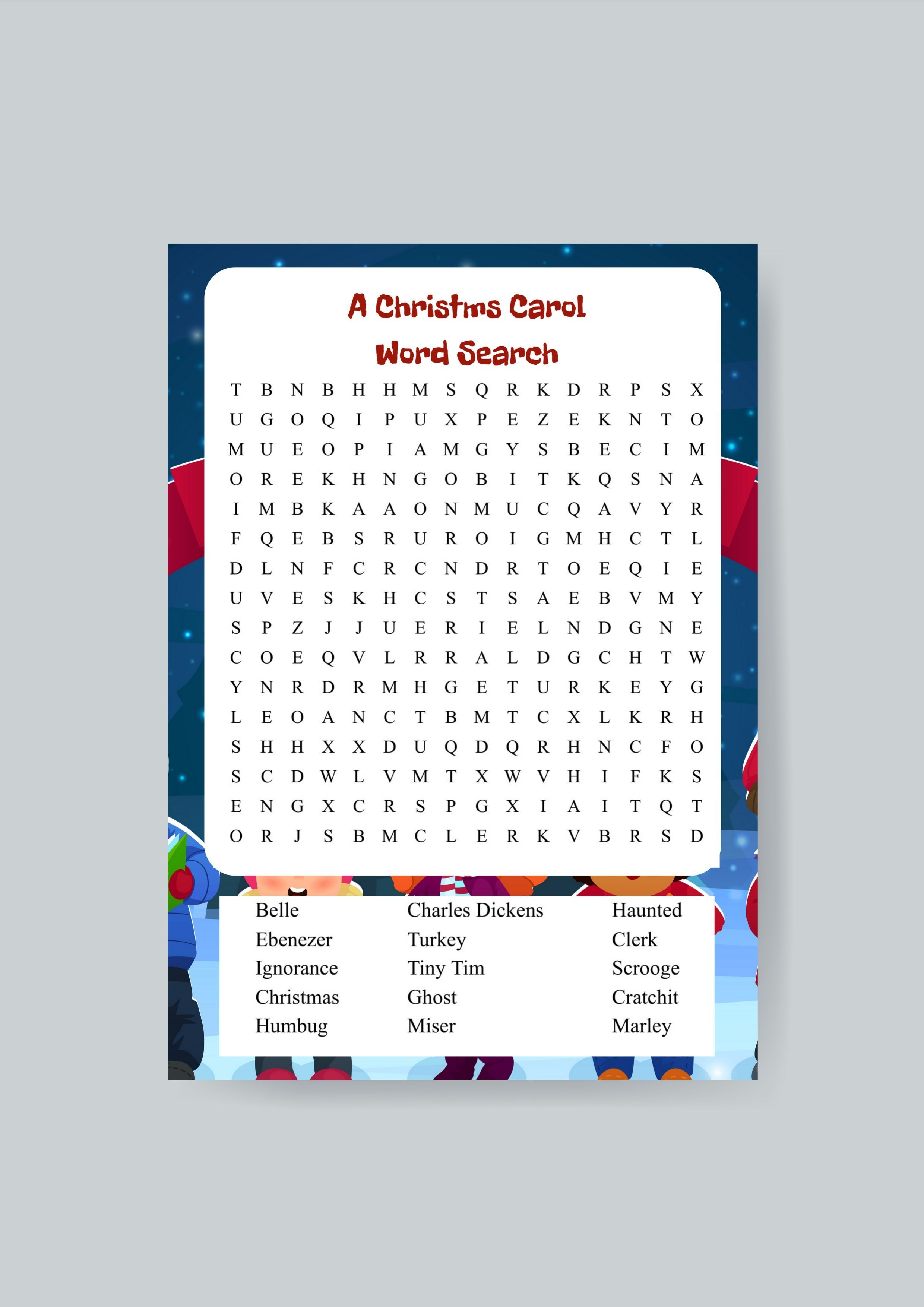 A Christmas Carol Word Search Printable With Images